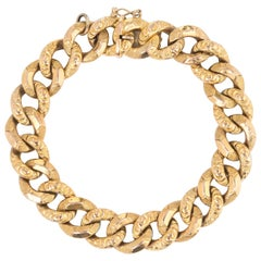 Antique Victorian French Bracelet 18 Karat Yellow Gold Large Curb Links Jewelry