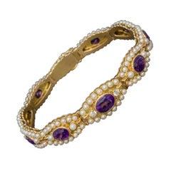 Antique Victorian French Bracelet Amethyst Diamond Pearl 18ct Gold, circa 1900