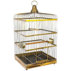 Antique Victorian French Brass Parrot's Cage Bird Cage, 19th Century