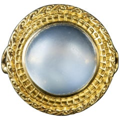 Antique Victorian French Cabochon Moonstone 18 Carat Gold Ring
