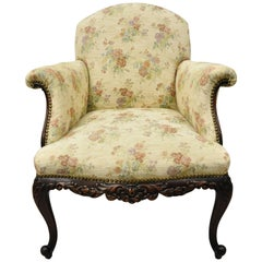 Antique Victorian French Carved Mahogany Upholstered Bergère Lounge Armchair