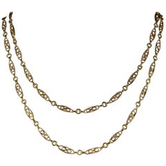 Antique Victorian French Chain 18 Carat Gold Silver, circa 1900