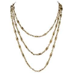 Antique Victorian French Chain 18 Carat Gold Silver, circa 1900