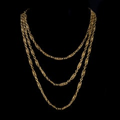 Antique Victorian French Chain 18ct Gold Silver Circa 1900
