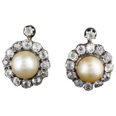 Antique Victorian French Diamond and Natural Pearl Cluster Earrings GIA