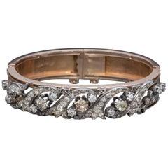 Antique Victorian French Diamond Bangle Fancy Diamonds 18 Carat Gold, circa 1900
