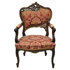 Antique Victorian French Style Finely Carved Mahogany Wood Parlor Arm Chair