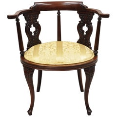 Antique Victorian French Style Mahogany Vanity Accent Side Chair with Round Seat