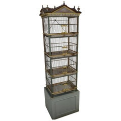 Antique Victorian French Style Wood Bird Cage