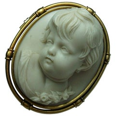 Antique Victorian Front Face Cherub Hard Stone Cameo Brooch