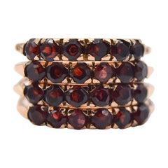 Antique Victorian Garnet 14 Karat Rose Gold Harem Ring