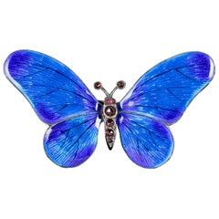 Antique Victorian Garnet Blue Enamel Silver circa 1900 Butterfly Brooch
