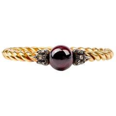 Antique Victorian Garnet Diamond Twisted 18 Karat Bangle Bracelet