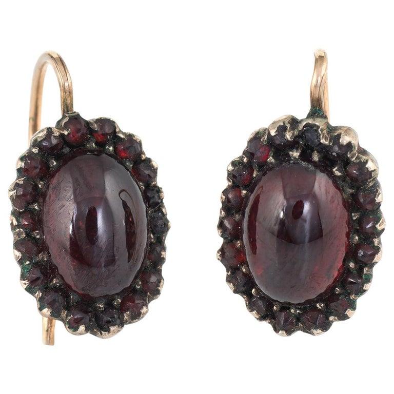 Garnet Earrings 10 Karat Gold Oval