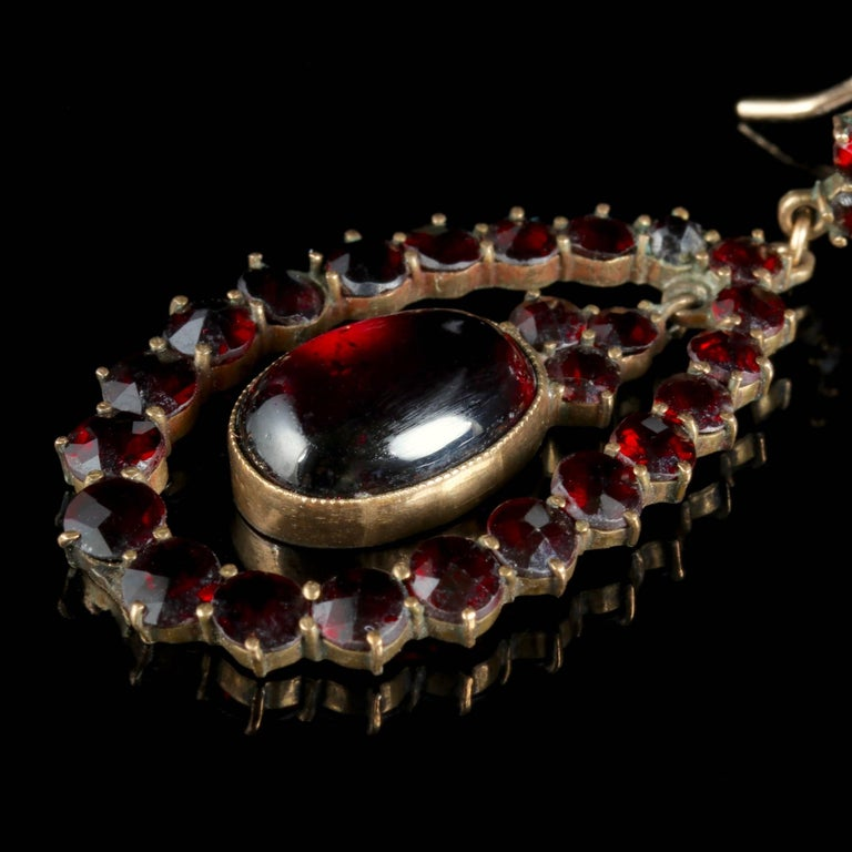 Women's Antique Victorian Garnet Earrings 9 Carat Gold, circa 1880 For Sale