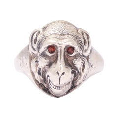 Antique Victorian Garnet Eye Monkey Face Ring