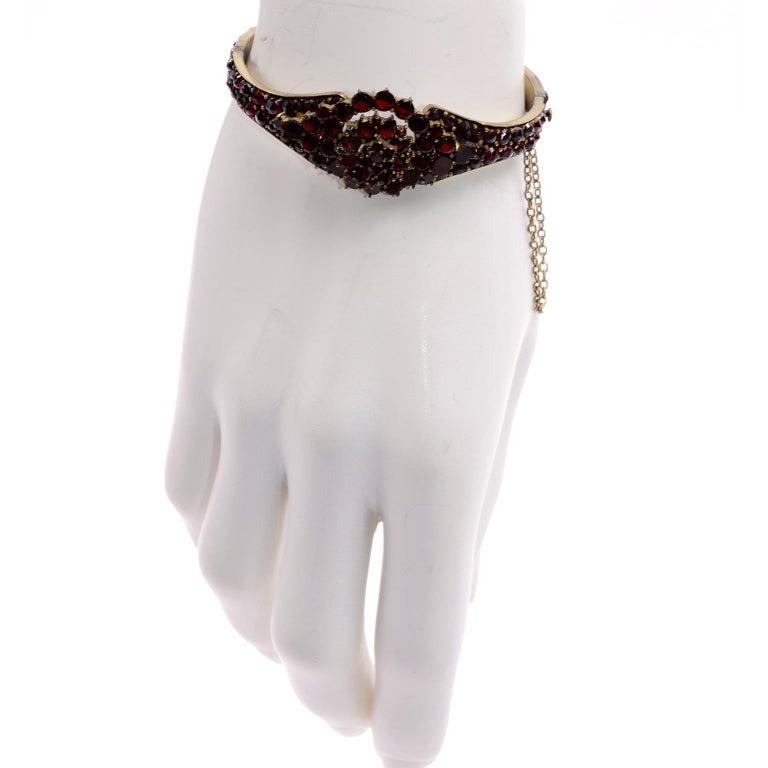 Antique Victorian Garnet Hinged Clamper Bracelet For Sale 6