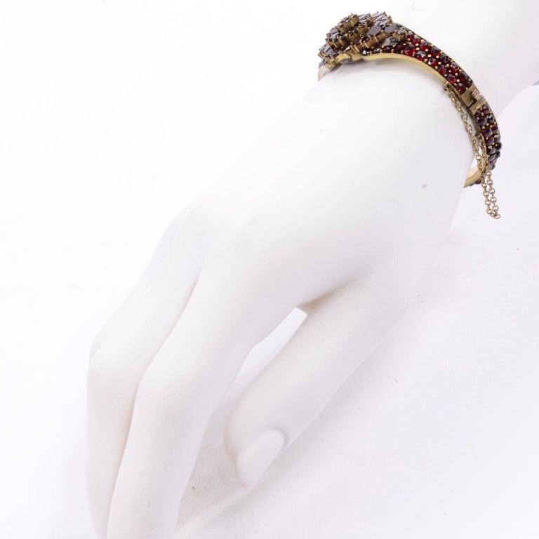 Antique Victorian Garnet Hinged Clamper Bracelet For Sale 7