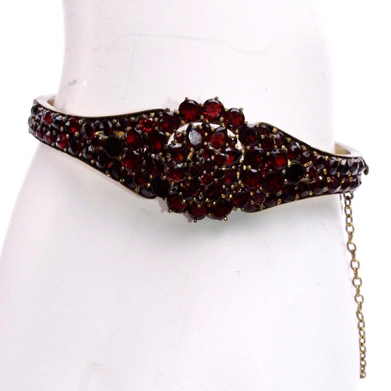 Antique Victorian Garnet Hinged Clamper Bracelet For Sale 8