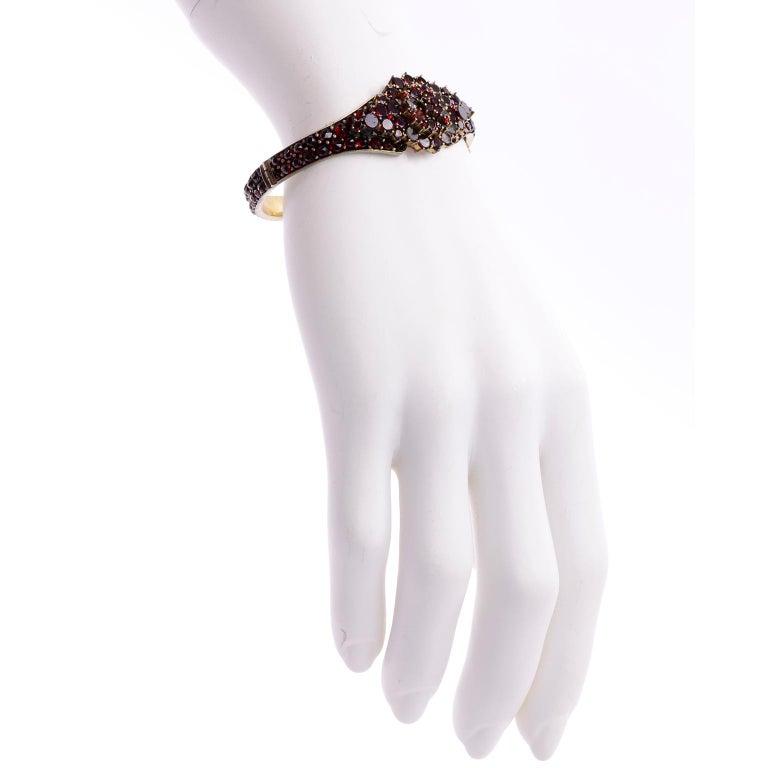 Antique Victorian Garnet Hinged Clamper Bracelet For Sale 9