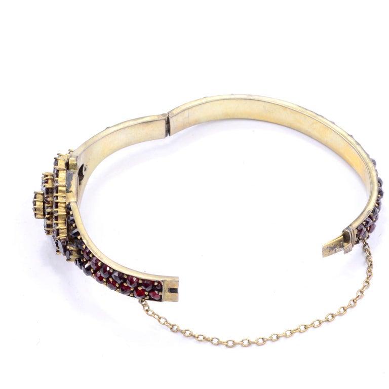 Antique Victorian Garnet Hinged Clamper Bracelet For Sale 14
