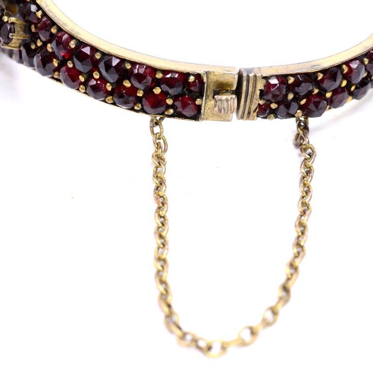 Antique Victorian Garnet Hinged Clamper Bracelet For Sale 15