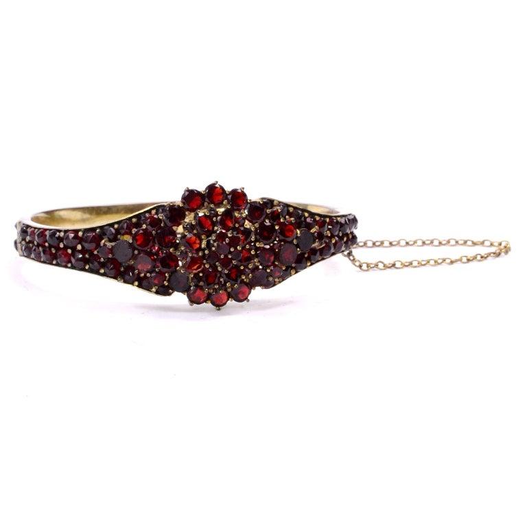 Antique Victorian Garnet Hinged Clamper Bracelet For Sale 16