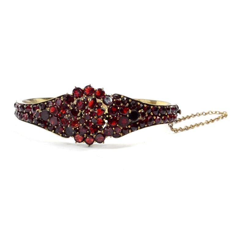 Women's Antique Victorian Garnet Hinged Clamper Bracelet For Sale