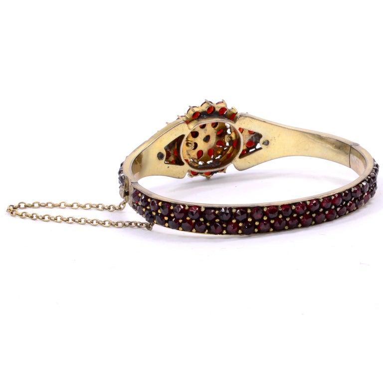 Antique Victorian Garnet Hinged Clamper Bracelet For Sale 1