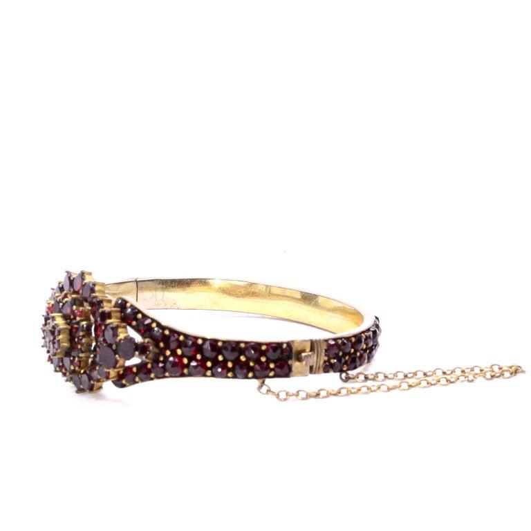 Antique Victorian Garnet Hinged Clamper Bracelet For Sale 4
