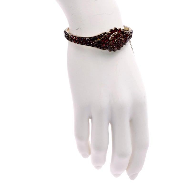 Antique Victorian Garnet Hinged Clamper Bracelet For Sale 5