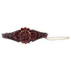 Antique Victorian Garnet Hinged Clamper Bracelet