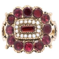 Antique Victorian Garnet, Natural Pearl Ring