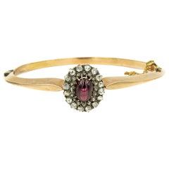 Antique Victorian Garnet Rose Cut Diamond Gold Bangle Bracelet