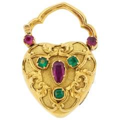 Antique Victorian Gemset Repousse Heart Padlock Locket