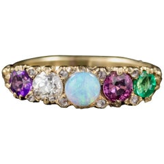Antique Victorian Gemstone Adore Ring 18 Carat Gold, circa 1900