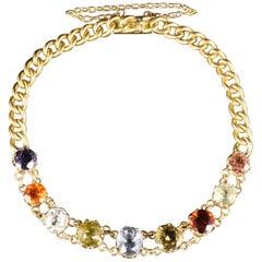 Antique Victorian Gemstone Bracelet 15 Carat Gold, circa 1890