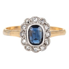 Antique Victorian Gemstone Engagement Ring Natural Sapphire Diamond Princess