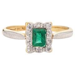 Antique Victorian Gemstone Ring Emerald Diamond 18 Karat Gold Platinum