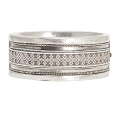 Antique Victorian Geometric Silver Cuff Bangle