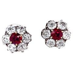 Antique Victorian GIA Burma No Heat Ruby Diamond Cluster Stud Earrings