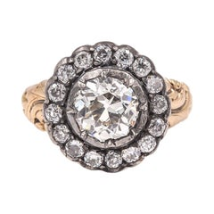 Antique Victorian GIA Certified 2.17 Carat Cluster Engagement Ring
