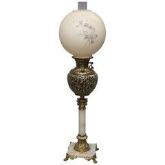 Antique Victorian Gilt Metal and Onyx Parlor Lamp, circa 1890