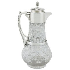 Antique Victorian Glass and Sterling Silver Mounted Claret Jug, 1896