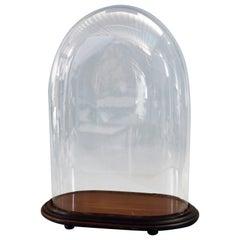 Antique Victorian Glass Clock Display Dome & Mahogany Base, Circa 1890