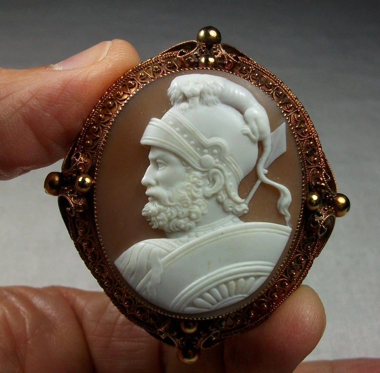 Antique Victorian God Mars Shell Cameo Pendant Brooch For Sale 6