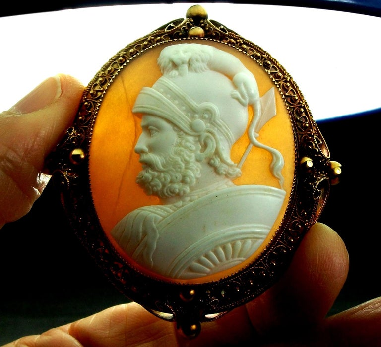 Antique Victorian God Mars Shell Cameo Pendant Brooch For Sale 7