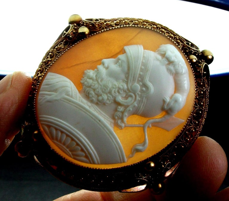 Antique Victorian God Mars Shell Cameo Pendant Brooch For Sale 8