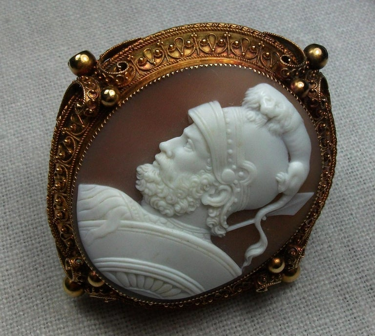 Museum Quality Victorian Cameo Brooch depicting Ares (Mars) the God of War.  This is a cameo of surpassing beauty an incredible work of art and very detailed,  carved by an artist.  Rarest cameo and subject very desirable collectors' piece. Please