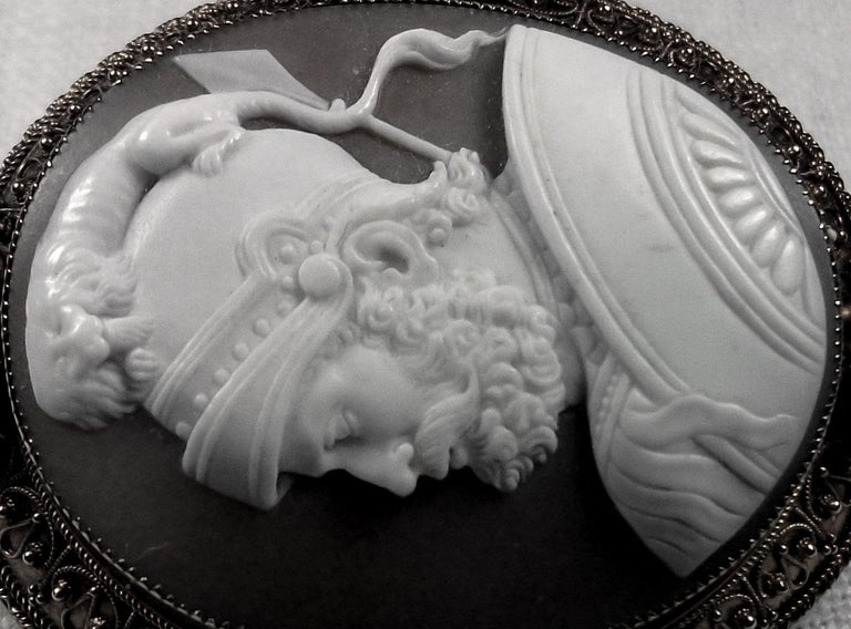 Women's or Men's Antique Victorian God Mars Shell Cameo Pendant Brooch For Sale